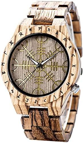 GJPSXTY Herren Holzuhr, Wikinger Symbol Helm Ehrfurcht Nordische Rune Vegvisir Handgemachte Geometrische Kreative Quarzuhr Einstellbare Rune Rundes Armband