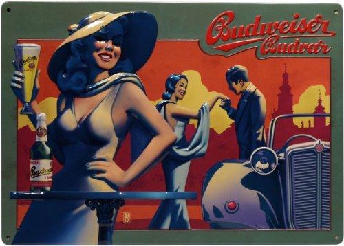 Budweiser Budvar Bier Blechschild geprägt 29,5 x 21 cm Reklame Retro Blech 411