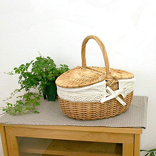 JWIL Storage basket Storage Basket Grass Wicker Crafts Hand-woven Basket Wicker Picnic Basket Storage Basket With Cover for Home Office Closet Toys Clothes (Color : A)