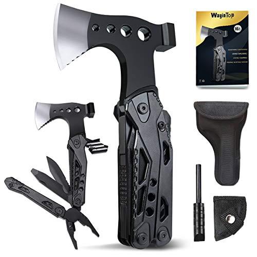 WayinTop Geschenke für Mann, Multifunktionswerkzeug mit Hammer Axt Schraubendreher Säge Flaschenöffner Taschenwerkzeug für Camping Wander Notfall im Freien