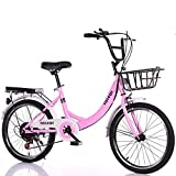 GJNWRQCY Vélo Pliant de 24 Pouces, vélo Pliant à Vitesse Variable, Absorption des Chocs et antidérapant, roulement de Charge Solide, Convient aux Adultes, aux Hommes et aux Femmes,Rose