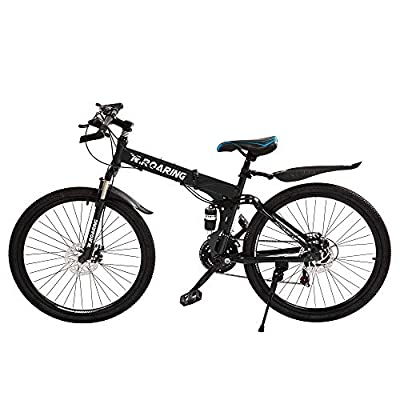 R.Roaring Mountain Bike for Adult Teens 21 Speed Gears Folding Outroad Bike 26 inch Dual Disc Brake Bicycle Black Ship from US