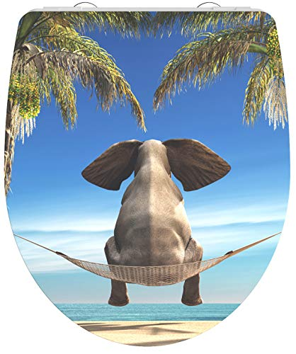 Schütte HAPPY ELEPHANT WC-Sitz Duroplast HG, Hochglänzender Toilettensitz mit Absenkautomatik, Schnellverschluss für die einfache Reinigung, max. Belastung der Klobrille 150 kg, Motiv Elefant 82580