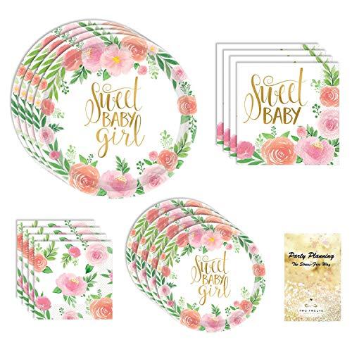 Boho Baby Shower Suministros para fiestas de bebé, diseño floral, 16 invitados, 65 piezas, vajilla de papel desechable, plato y servilleta