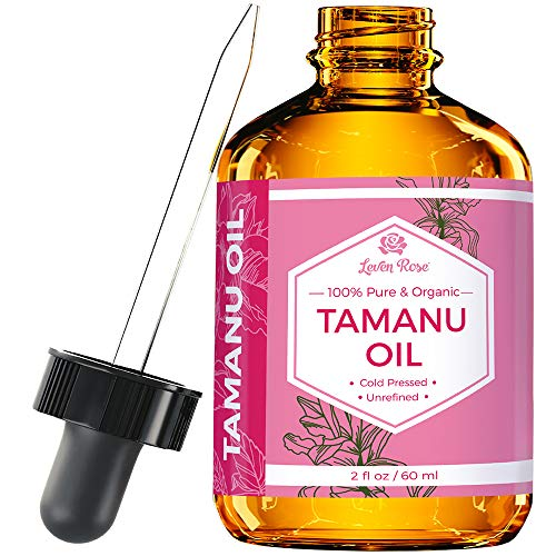 Tamanu Oil by Leven Rose - 100% Pure, Organic, Unrefined, Cold-Pressed Tamanu Oil For Hair, Skin, Nails, Acne, Scars - 2 oz In Dark Amber Glass Bottle with Glass Dropper - 100%