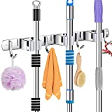 Broom Mop Holder, Heavy Duty Stainless Steel Wall Mounted Mop Clip Hangers Broom Storage Tidy Clamp Organizer <span class='highlight'>Tool</span> with 3 Racks 4 Hooks for Brush Closet Kitchen Garden Garage Bathroom Office (Gray)