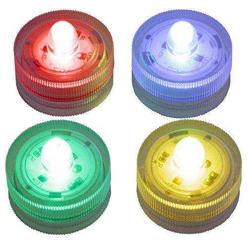LED-Highlights Deko Kerzen Teelichter 4 er Set (je 1 x rot, gelb, blau, grün) wasserdicht leuchtend kabellos Batterie Stimmungslicht Tischlampe Innen Aussen