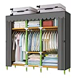 YOUUD 68' Wardrobe Storage Closet Colored Rod and Dark Grey Cover Portable Closet Stroage Organizer, Quick and Easy to Assemble, Sturdy Strong and Durable