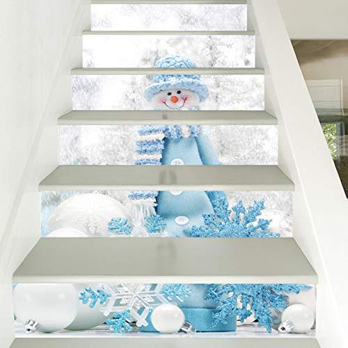 Pegatinas para escalera, 6 unidades, diseño de muñeco de nieve de Navidad, para escaleras, PVC, impermeables, para decoración de Navidad