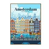 IUYTRF Turismo Amsterdam Bangkok Barcelona Berlín cartel pintura arte cartel impresión lienzo decoración del hogar imagen pared impresión-50X75 cm sin marco 1 Uds