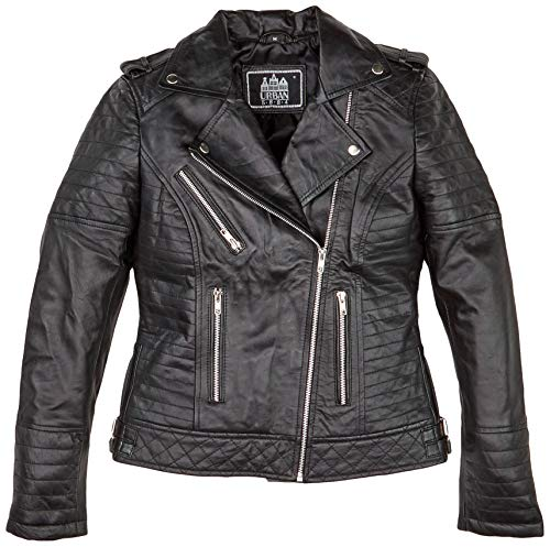 Urban Leather Michelle Fashion Giacca in Pelle da Donna, Nero, Taglia S
