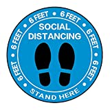 Social Distancing Floor Decal Stickers - 30 Pack 8' Blue Stand Floor Decal - Wait Here Sign Distance of 6 Feet Specialized Sticker Markers, for Crowd Control Guidance, Pharmacy, Bank, Lab