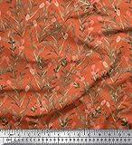 Soimoi Orange Baumwolle Ente Stoff Beeren Blätter gedruckt