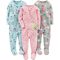 3-Pack Simple Joys by Carter's Baby and Toddler Girls' Snug Fit Footed Cotton Pajamas