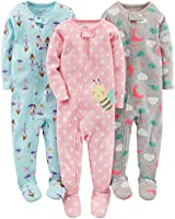 Simple Joys by Carter's Toddler Girls'  3-Pack Snug-Fit Footed Cotton Pajamas, Ballerina/Moon/Bee, 2T