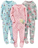 Simple Joys by Carter's Toddler Girls' 3-Pack Snug-Fit Footed Cotton Pajamas, Ballerina/Moon/Bee, 3T