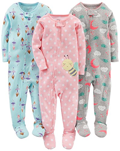 Simple Joys by Carter's Baby Girls' 3-Pack Snug-Fit Footed Cotton Pajamas, Ballerina/Moon/Bee, 12 Months