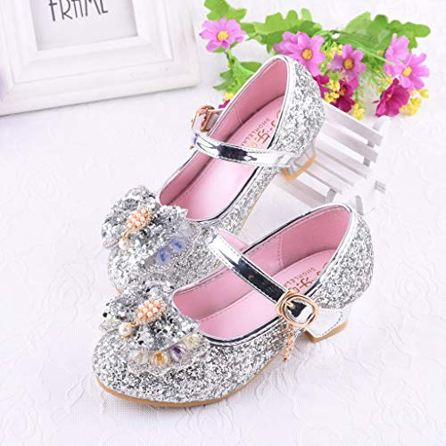 Niños Zapatos de Lentejuelas Perlas para NiñA Sandalias de Vestir de Verano Zapatos de Princesa de Diamantes de ImitacióN Zapatos Casuales con Hebilla de Cristal Pequeños Zapatos de Cuero 26-37 EU