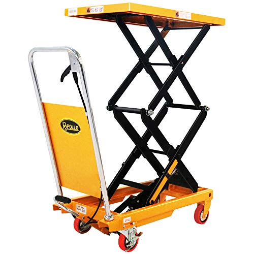 """APOLLO Double Scissor Hydraulic Lift Table Cart Motorcycle Elevating Cart 51.2"""" Lifting Height 770lbs Capacity"""