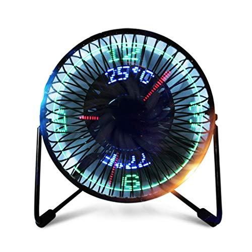 Ventilador Portátil LED Reloj Mini con Pantalla De Temperatura En Tiempo Real Ventiladores De Escritorio para La Oficina En El Hogar, Ordenador Super Mute PC USB Cooler Escritorio Nuevo USB