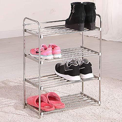 DXMRWJ Zapatero de Acero Inoxidable de 4 Niveles, Soporte de Estante Multiusos Estante de Zapatos Duradero y Grueso Resistente - 48x24x66cm (19x9x26inch) 1210 (Color: A, Tamaño: 48x24x66cm)