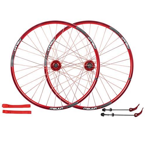 """LSRRYD MTB Set Ruote Bici 26 Pollici Freno A Disco Cerchi da Ciclismo Ruota A Sgancio Rapido Ruota di Bicicletta 32 Ha Parlato per Volano A Cassetta 7-10 velocità (Color : Red, Size : 26"""")"""