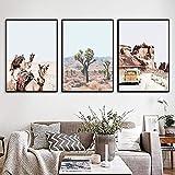 AdoDecor Desierto Camel Cactus Bus Paisaje de montaña Arte de la Pared Pintura en Lienzo Carteles nórdicos e Impresiones Imágenes de Pared Sala de Estar Decoración para el hogar 50x72cmx3 Sin Marco