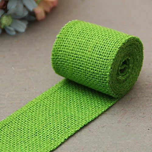 Anna822 - Cinta de arpillera de Yute Natural de 2 m para Costura, Manualidades, Bodas, Color Rojo, Verde Claro, Tamaño Libre