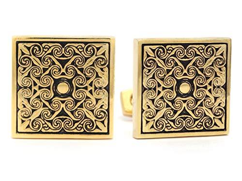 Gemelos cuadrados de oro amarillo pulido de 18 quilates para hombres con diseño negro y bolsa de regalo púrpura con caja de joyería