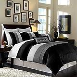 Legacy Decor 8 Pc Luxury Super Set Black/White/Grey Faux Silk Comforter (104'x92') Set/Bed-in-a-Bag King Size Bedding