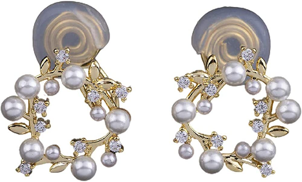 14K Yellw Gold Plated Pearl Princess Wreath/Flower-Ring Clip-on/Stud Earrings