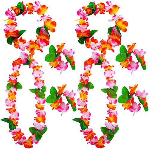 Cooraby Hawaiian Garlands Thickened Garland Flower Leis Necklace Headbands and Wristbands for Luau Party Supplies