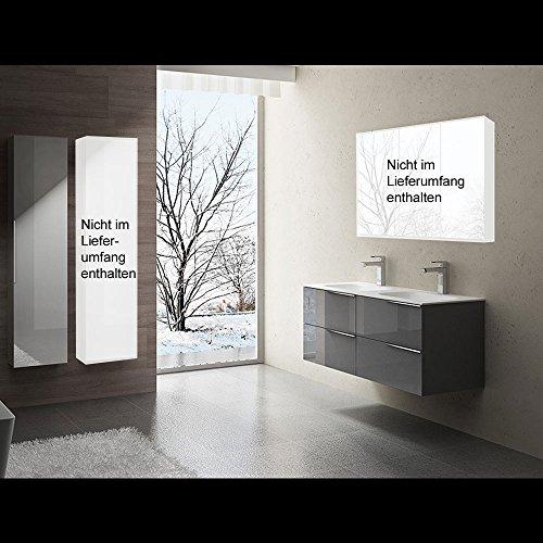doporro Conjunto de Mueble de baño de diseño Vanessa en Gris Brillante, 3 Piezas, Lavabo, Mueble bajo y Armario Lateral a la Izquierda | Ancho:120cm