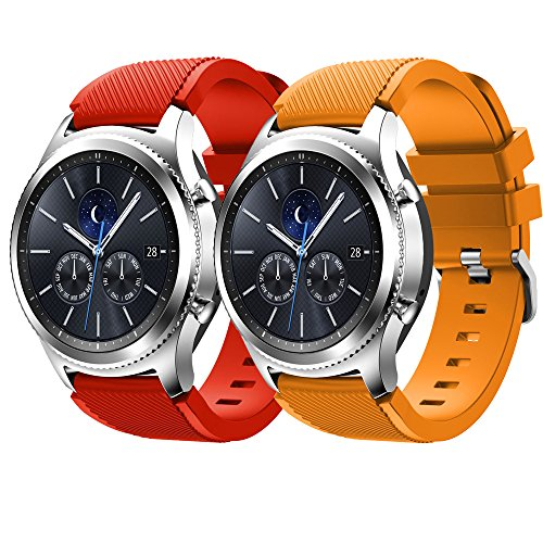 Gosuper zachte siliconen sport-reserveband voor Samsung Gear S3 Frontier/S3 Classic/Galaxy Watch 46mm, Samsung Gear S3, rood en oranje.