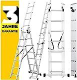 [page_title]-Craftfull Aluminium Leiter Teleskopleiter Klappleiter CF-106A - 6 Größen 3x6/3x7/3x9/3x11/3x12/3x14 - Stehleiter - Multifunktionsleiter (4.22 Meter (3x7 Sprossen))