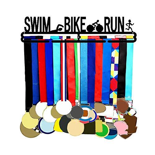 Ecisi Appendiabiti per Triathlon, Appendiabiti per medaglie Premium Swim Bike Run Appendiabiti per medaglie Sportive, Appendiabiti, Gancio in Metallo Nero