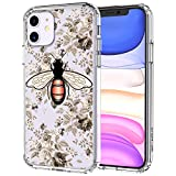 MOSNOVO iPhone 11 Case, Fashion Bee Floral Flower Pattern Clear Design Transparent Plastic Hard Back Case with TPU Bumper Protective Case Cover for Apple iPhone 11 (2019)