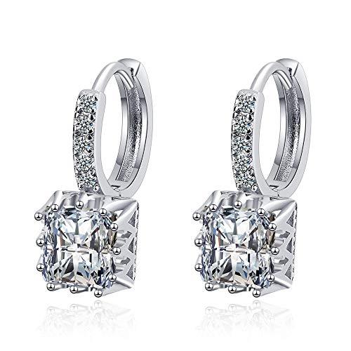 Pendientes Mujer Pendientes De Tachuelas Cuadrados De Cristal De Plata De Ley 925 para Mujer, Accesorios De Joyería De Compromiso, Blanco