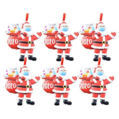 Gergeos 2020 Santa Claus Ornaments, Christmas Tree Decoration Pendant, Santa Claus with Face Cover Tradition Home Decor for Family (6-Santa Claus, 1 PC)