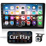 AMprime Android Double Din Car Stereo with Apple Carplay 10.1'' Touchscreen Car Radio Support Bluetooth, WiFi, GPS, FM, SWC + Rear Camera & External Microphone