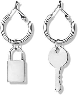 silver padlock earrings