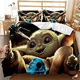 Juego de funda de edredón para cama individual, diseño de Star Wars Baby Yoda, 2 piezas con cierre de cremallera, 135 x 200 cm con 1 funda de almohada de 50 x 75 cm, microfibra ultrasuave