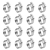 WINL Stainless Steel Hose Clamps - 16 Pack Worm Gear Drive Hose Clamps SAE 12 Clamping Range of 1/2'' to 1-1/4'' (14mm-31mm) for Automotive Plumbing