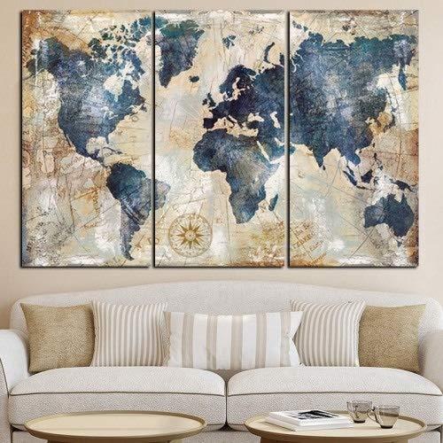 Toile Affiche murale HD Imprimer 3 Panneau Aquarelle Peinture Grand Planisphère mur Canapé modulable Art Image For Living Canvas Peinture Chambre (Color : White, Size (Inch) : 15x30cmx3p)