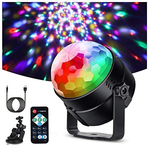 Litake Discokugel Discolicht LED(Upgrade 6W),Partylicht 7 Farben Modi Farbwechsel Musikgesteuert Bühnenbeleuchtung mit Fernbedienung 4M USB Kabel 360°Rotierenden für Kinder Party Halloween