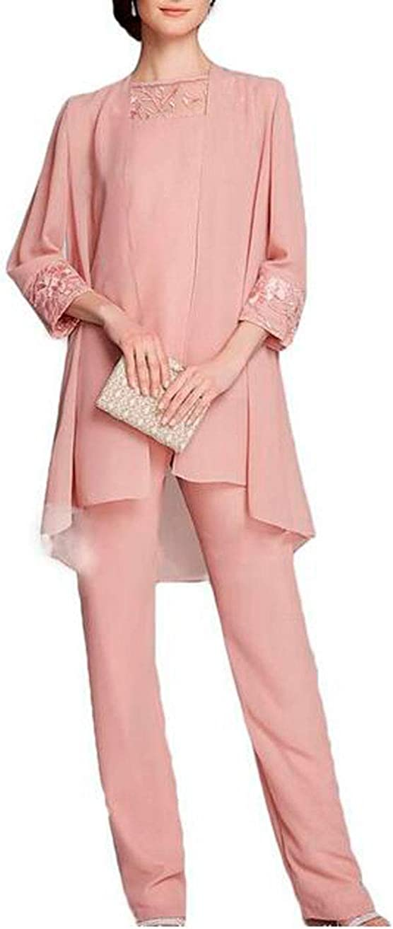 3 PC Chiffon Mother of The Bride Pants Suit with Embroidery Floor Length Women Outfits for Wedding