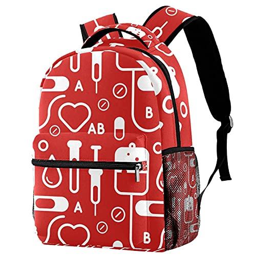 Liangbaiwan Mochila para niñas Niños Mochila Equipaje Bolsa de viaje Mochila Tipo de dibujo de sangre con cremallera de bolsillos de red