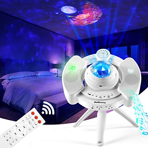 LED Sternenhimmel Projektor Delicacy Rotierende Wasserwellen Projektionslampe Galaxy Light mit Starry Stern Mond Wolke Timer und Musikspieler mit Stereo Lautsprecher für Party Geburtztag Dekoration
