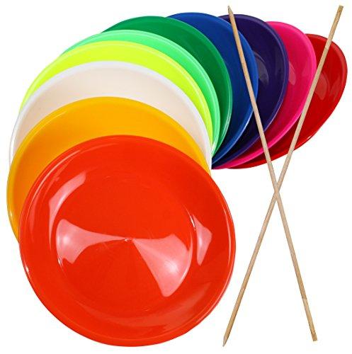 SchwabMarken 2 Jonglierteller BUNT mit Holzstab - Jonglierteller mit Holz- oder Kunststoffstab in vielen verschiedenen Mengen und Farben