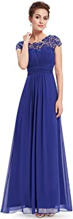 Womens Cap Sleeve Lace Neckline Ruched Bust Evening Gown 09993
